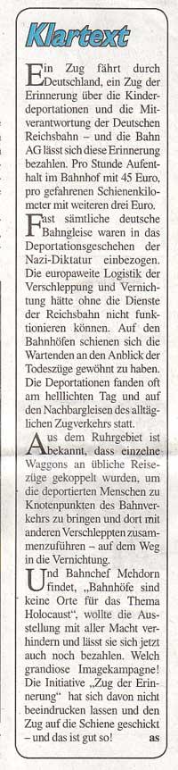 Kommentar Stadtspiegel vom 16.2.2008: »Klartext«
