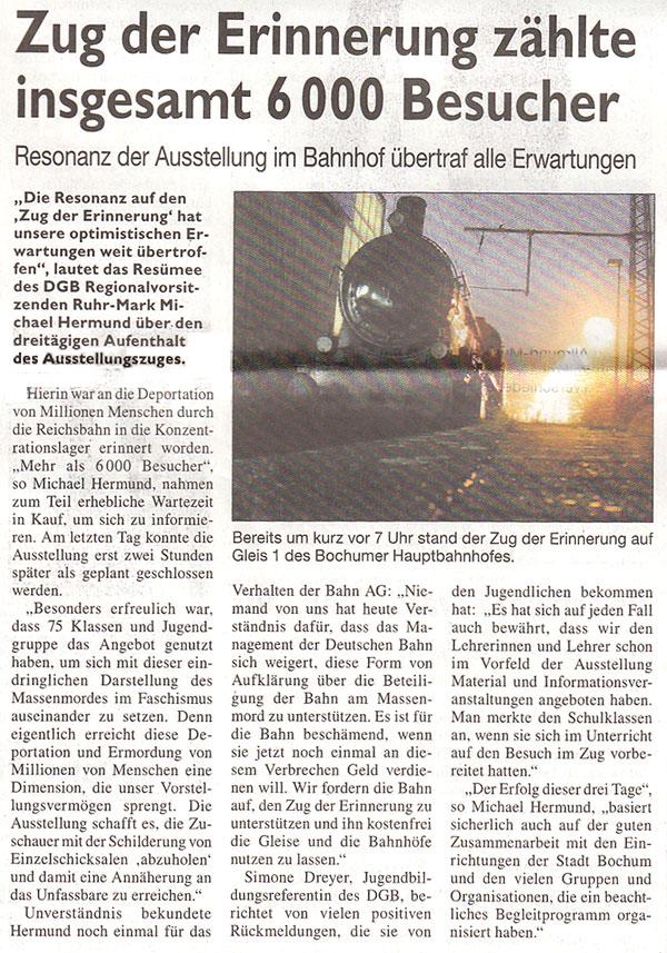 Stadtspiegel Bochum: »Zug der Erinnerung zählte insgesamt 6000 Besucher«